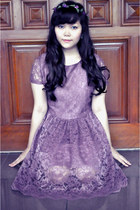 plum lace Velvet dress