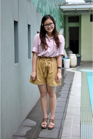 volcom shirt - unbranded shorts - flowery pattern bloop endorse wedges