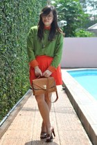 colorblock Love Andalasia blouse - charles&keith heels - a-line Zara skirt