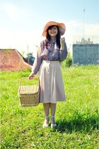 light pink pleated midi Maize Clothing skirt