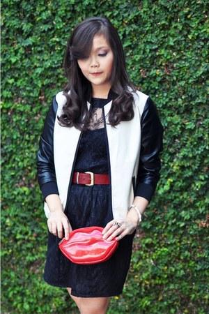 white varsity Choies jacket - red lippir Choies purse
