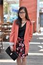 Pink-oversized-forever-21-blazer-navy-floral-print-persunmall-skirt
