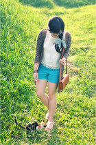 sky blue Velvet shorts - vintage bonvieux blouse