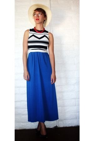 white thrifted express top - blue random from Ross dress - black Steve Madden sh