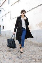 black c&a coat - navy pull&bear jeans - ivory pull&bear shirt - black Mango bag