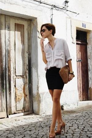 brown Stradivarius heels - light pink Pull & Bear shirt