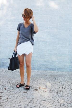 black Parfois bag - white menswear Ebay shorts - white shorts sunglasses