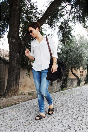 navy Bershka jeans - white Mango shirt - dark brown Ebay bag