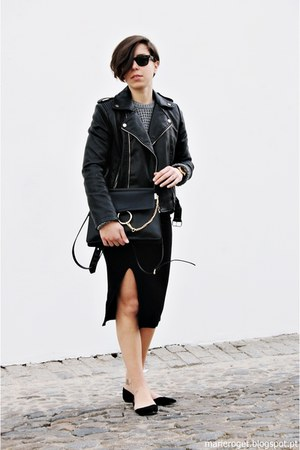 black Mango jacket - charcoal gray pull&bear sweater - black Jcos Studios bag