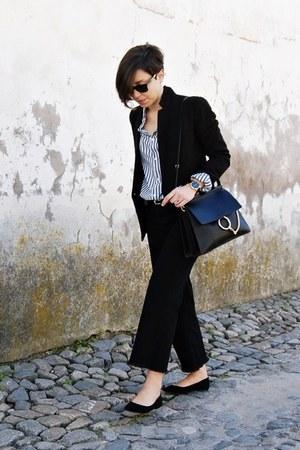black Zara jeans - black Mango blazer - blue pull&bear shirt