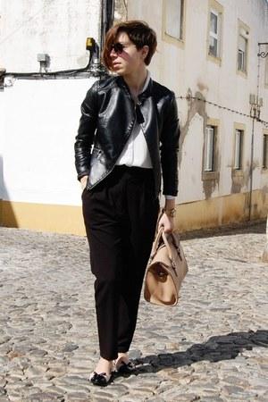 black Stradivarius jacket - off white Mango shirt - tan Mango bag