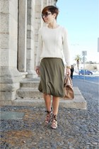 nude Mango bag - off white Mango jumper - light brown Zara heels