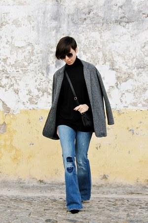 black Zara sweater - navy pull&bear jeans - maroon Parfois sunglasses