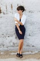 navy Zara dress - white pull&bear shirt - black Mango sandals