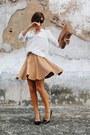 White-mango-shirt-light-brown-vintage-bag-black-zara-heels
