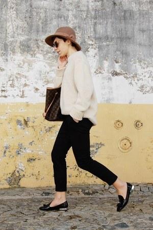 brown Parfois hat - off white Zara sweater - dark brown Louis Vuitton bag