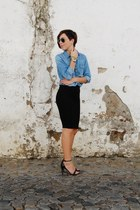 black denim shirt pull&bear skirt - sky blue heels pull&bear shirt