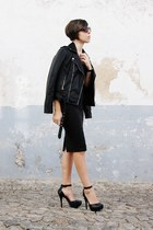 black Pull & Bear dress - black Mango jacket - dark brown Mango sunglasses