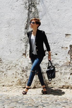 black vintage blazer - navy stripes pull&bear jeans