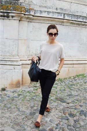 black Parfois bag - tan Mango shirt - black Ebay sunglasses - black Mango pants