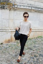 black Parfois bag - tan Mango shirt - black Ebay sunglasses - black Mango pants
