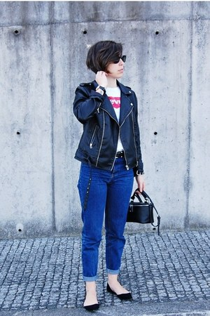 black Mango jacket - navy pull&bear jeans - black Parfois bag