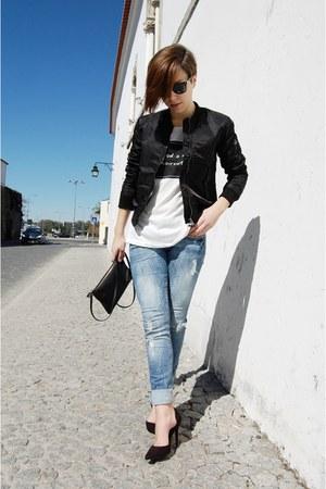 black Bershka jacket - blue Bershka jeans - black Parfois bag
