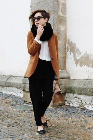 ivory Mango shirt - burnt orange Stradivarius blazer - tan Mango bag