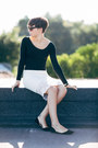 Black-bershka-top-ivory-forever-21-skirt-black-zara-flats
