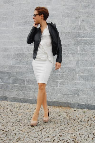 white midi pull&bear skirt - black leather jacket Stradivarius jacket
