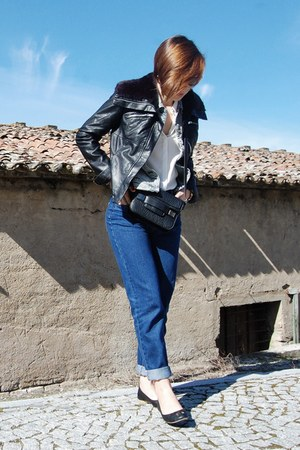sky blue Mango jacket - black Stradivarius jacket - navy pull&bear jeans
