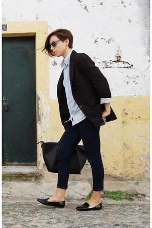 black pull&bear blazer - navy pull&bear jeans - sky blue Mike Davis shirt