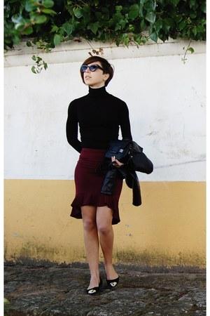 black Stradivarius jacket - black Parfois bag - crimson Forever 21 skirt
