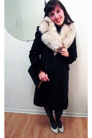 Browns heels - le chateauateau coat - fur shawl montreal fur scarf