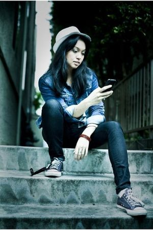 blue Roni B jacket - blue Dish Jeggings  Roni B jeans - purple Converse shoes -
