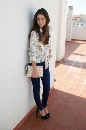 white Zara shirt - beige Zara bag - blue Zara pants - black Zara heels