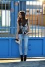 Black-zara-boots-light-blue-stradivarius-jeans-cream-zara-bag
