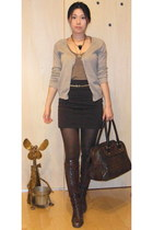 dark brown random brand boots - dark brown Mango bag - beige Zara cardigan - dar