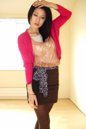 hot pink random scarf - light orange lace H&M top - orange Forever 21 ring - dar