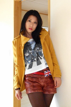 light orange Forever 21 coat - dark brown Zara shorts - white H&M t-shirt - red