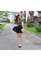 black Ebay wedges - beige SoNize bag - brown Zara top - dark gray vintage skirt