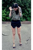black Zara shorts - white Zara blouse - black Zara sandals