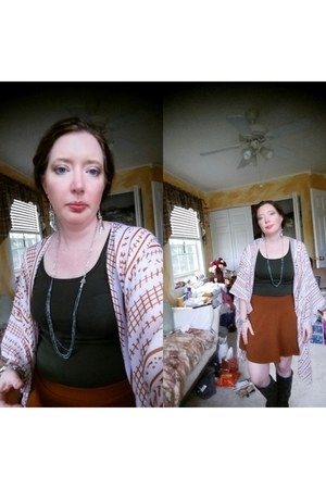 greens grays Etsy necklace - brown Forever 21 skirt - Adogirl cardigan