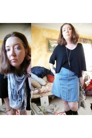black Urban Outfitters shirt - denim Eddie Bauer skirt