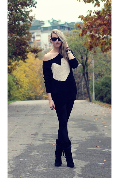 black AX Paris sweater - black leather boots boots boots