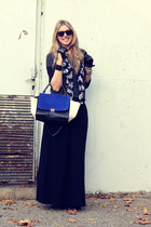 black long skirt H&M shirt - no name scarf - blue shoulder bag VJ Style bag
