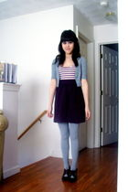 purple Urban Outfitters dress - silver Heritage 1981 cardigan - brown