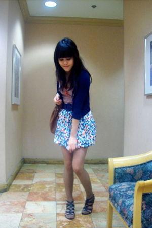 blue Forever 21 skirt - red Forever 21 top