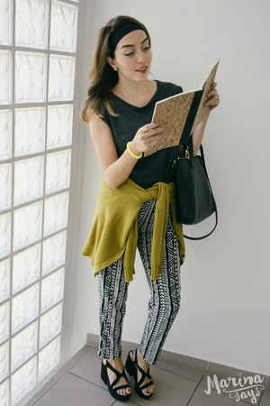 white tribal second hand pants - chartreuse Forever 21 cardigan