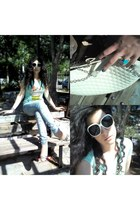 light blue pink woman t-shirt - Zara jeans - white christian dior sunglasses